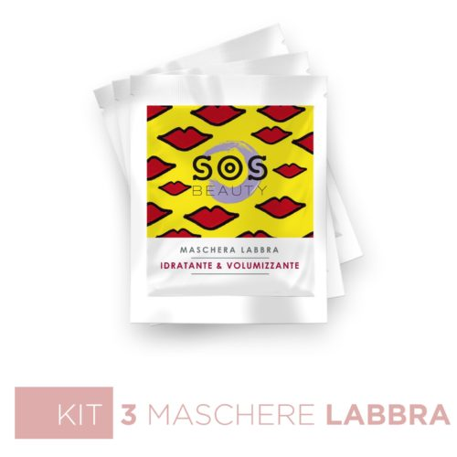 Sos Beauty Kit Labbra – 3 Maschere Labbra Idratanti & Volumizzanti